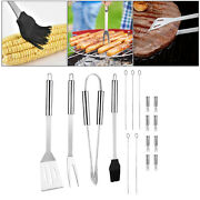 Bbq Grill Tool Set Spatula Tongs Skewers Barbecue Grilling Indoor Outdoor