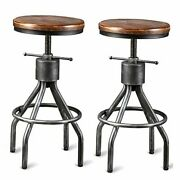 Set Of 2 Industrial Bar Stool-vintage Counter Dining Chair-swivel Wood Silver