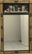 Friedman Brothers Art Deco Pate Sur Pate Plaque Black And Gold Wood Wall Mirror