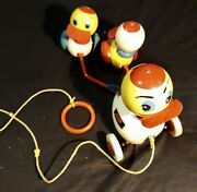 Vintage Toy By Brio Sweden Mama Duck And Duckling Pull Toy Ca 1950s.60s