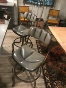 Domore Drafting Stools Grey Art Deco With Old Leather And A Great Patinaandnbsp