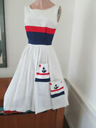 Vintage Tricolor Nautical Embellished Dress Anchors Aweigh Stars