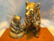 Vintage 1940and039s Chalkware Grizzly Bear 3.5 Figurine Yellowstone Park Souvenir