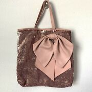 Nwt Red Valentino Pink Sequin Leather Bow Tote Bag Large Rare Sold Out