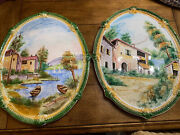 Vintage French Country Landscape Design Wall Painting Handpainted Signed