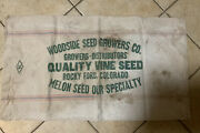 Vtg Seed Grain Sack Cloth Bag Woodside Seed Growers Rocky Ford Colorado Melons 2