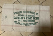 Vtg Seed Grain Sack Cloth Bag Woodside Seed Growers Rocky Ford Colorado Melons 3