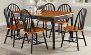 Table Dining Wood Kitchen Solid Room Rustic Furniture Modern Farmhouse 7 Piece