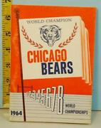 1964 Chicago Bears Football World Champion Media Guide Schedule