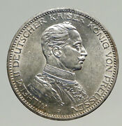1914a Germany German States Prussia Wilhelm Ii Antique Silver 3 Mark Coin I94251