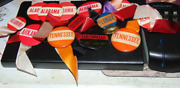 15 1940and039s College Football Pin Back Buttons With Ribbons Alabama Tennessee Ga