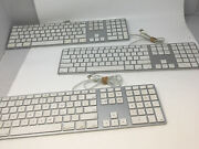 Apple A1243 - Wired Slim Aluminum Keyboard W/ 2 Usb Ports - Tested Lot Of 3