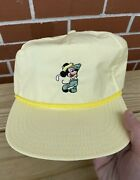 Walt Disney Productions Mickey Mouse Playing Golf Vintage Cap Yellow Hat Rare