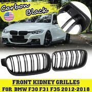 Pair Carbon Black Front Kidney Grill Grille For Bmw 3 Series F30 F31 F35 12-18