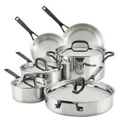 Kitchenaid Luxury 10 Piece 5-ply Clad Stainless Steel Cookware Set New