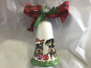 Two Yorkie Puppies Hand Painted Bell Christmas Ornament Beautiful