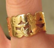 Retired Rare James Avery 14k Angel And Flower Floral Eternity Ring Wide Band Heavy