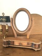 Antique English Dressing Table Vanity Mirror Wooden W/ Drawer 19th Century