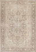 Antique Muted Heriz Evenly Low Pile Handmade Area Rug Geometric Oriental 8and039x11and039