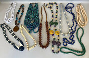 Vintage Lot Of 11 Costume Jewelry Colorful Chunky Beaded Necklaces Wholesale