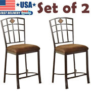 Set Of 2 Kitchen Counter Height Chairs Antique Metal Seat With Padded Fabric New