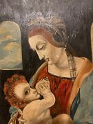 Madonna And Child Portrait Painting Oil On Board Virgin Mary Baby Jesus Religious