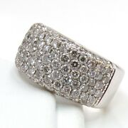 2ctw Pave Diamond Cluster 10mm Wide Band 14k White Gold Ring Size 6.5 Ljh4