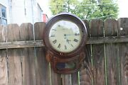 Antique English Drop Dial 8 Day Time Only Fusee Wall Clock