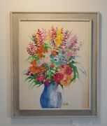 Vintage 35x29 Original Signed And Framed Harry Dunn Flowers Acrylic Painting