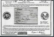 1952 Pontiac 2 Door Club Coupe Indiana Title Notarized Historical Document