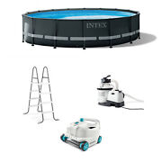 Intex Ultra Xtr 16ft X 48in Above Ground Pool Set W/ Pump And Cleaner Robot Vacuum