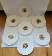 """Copeland Spode Signed J. Price Embossed Daisy Floral Fruit 9"""" Plates Set Of 7"""
