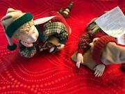 Vintage Pair Of Napping Elves Christmas Posable Figurine
