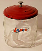 Vintage Lance Glass Cracker Cookie Candy Jar Store Counter Display 6.5  W Top