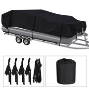 Boat Cover Waterproof Trailerable Pontoon Heavy Duty Fabric Black 17ft To 22ft
