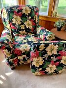 Rare Find Vintage 1940andrsquos Barkcloth Era Floral Chair Slipcover Unused