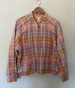 Orvis Jacket Pink/yellow/coral/ Green Plaid Linen Lined Xl Euc