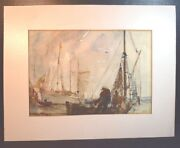 Fishermen And Fishing Boats In A Harbor Double Sided Watercolor Signed Jack