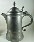 Fine Antique Boardman 1-quart American Pewter Flagon With Multi-tiered Finial