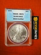 2000 1 American Silver Eagle Anacs Ms70 Blue Label Better Date