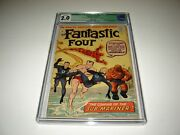Fantastic Four 4 Cgc 2.0 Qualified Rare Uk Variant Silver Age Marvel Key