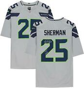 Richard Sherman Seattle Seahawks Signed Gray Jersey And Legion Of Boom Insc