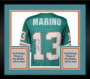 Frmd Dan Marino Miami Dolphins Signed Mandn Teal Replica Jersey And Hof 05 Insc