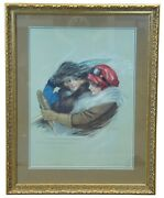Antique Victorian Lithograph Two Women Driving Wolf And Co 1911 Germany