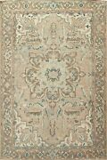 Antique Muted Geometric Heriz Hand-knotted Area Rug Wool Oriental Carpet 8'x11'