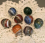 """Hand Blown Art Glass Swirl Marbles Egg Shaped 1 1/4"""" With Pontils Lot Of 8"""