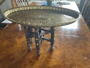 Middle Eastern Metal Tray Top Table Stand With Language Detail