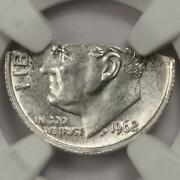 1962 Ngc Ms65 50 Straight Clip 1.37 Gram Silver Dime Mint Error Extremely Rare