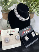 Two Pair Cz By Kenneth Jay Lane Earrings And Cz Bracelet Lot
