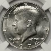 1974 Ngc Ms64 Incomplete Clip Kennedy Half Dollar Mint Error Extremely Rare
